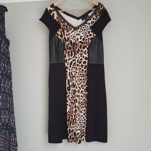 Lane Bryant Dresses - Leopard print dress with faux leather side panels